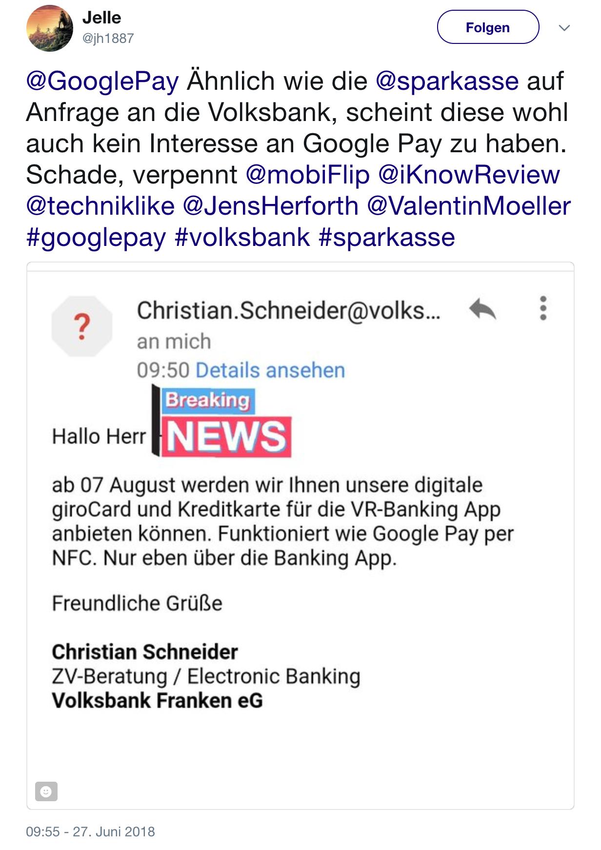 Google Pay Auch Volksbank Mit Eigener App 1androidde
